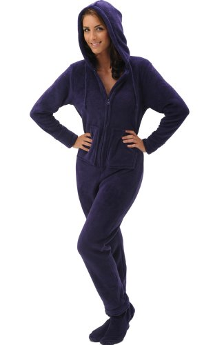 Del Rossa Women's Fleece Hooded Footed One Piece Onesie Pajamas ...