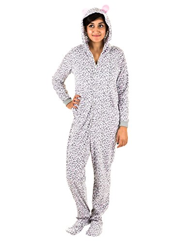 Pillow Talk Womens Hooded And Footed Onesie With Pockets