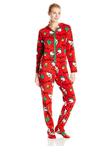 Hello Kitty Women's Ugly Holiday Footed Pajamas with Hood ...