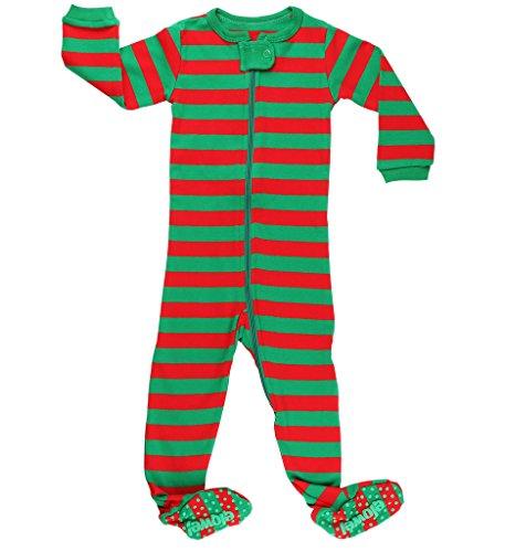 Elowel Baby Boys Girls Footed Christmas Striped Pajama