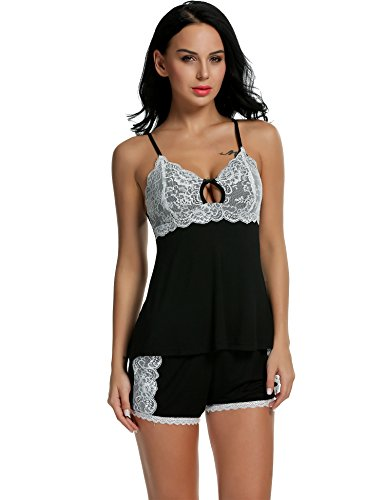 cd8d28520 HOTOUCH Women s Sexy Pajama Shorts Lace Cami Lingerie Sleepwear S-XL ...