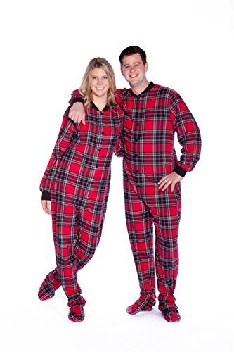 545d1ac21 Big Feet PJs Red   Black Plaid Cotton Flannel Adult Footie Footed ...