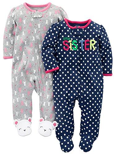 3da551045 Simple Joys by Carter's Baby Girls' 2-Pack Fleece Footed Sleep-and-Play