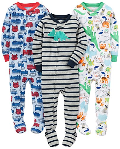 46bfcf13b6c6 Simple Joys by Carter s Boys  3-Pack Snug Fit Footed Cotton Pajamas ...