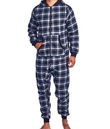 Ashford /& Brooks Mens Adult Flannel Hooded One Piece Pajama Union Suit Jumpsuit