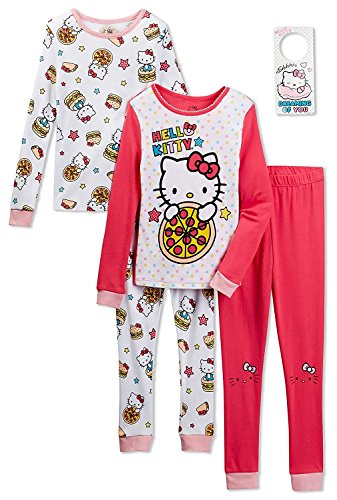 Komar Kids Hello Kitty Girls 4 Piece Cotton Pajama Set With Doorknob  Hanger 749937d23