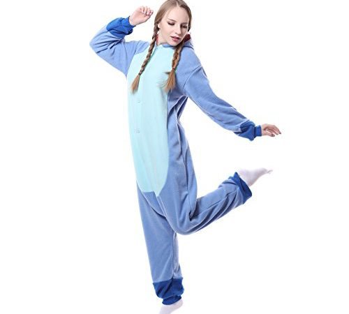 e274c4dae Unisex-adult Onesie Pajamas Kigurumi Stitch Animal Sleepwear for Halloween Party  Costumes,Daily Cartoon Outfit(Blue,M)